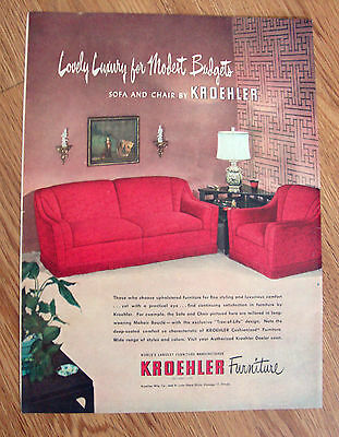 1950 Kroehler Furniture Ad Sofa and Chair