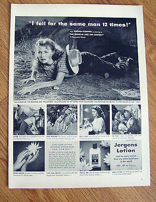 1951 Jergens Movie Ad Rhonda Fleming in the Redhead & the Cowboy