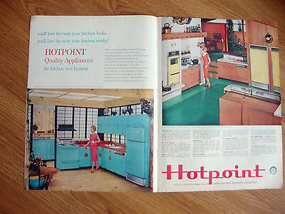 1959 Hotpoint Ad  Quality Appliances for Kitchen & Laundry Refrigerator Washer