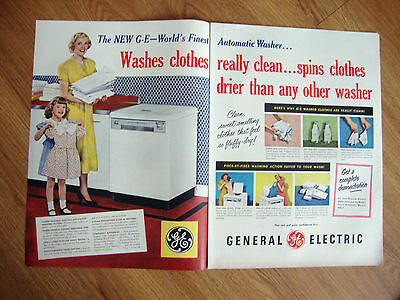 1950 GE General Electric Automatic Washer Washing Machine Ad