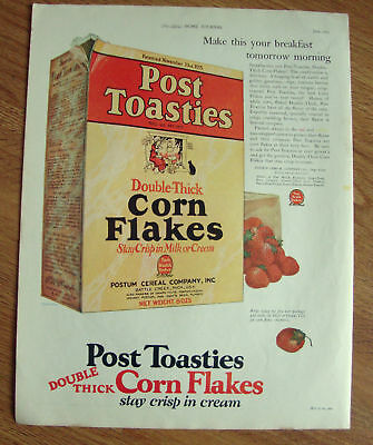 1925 Post Toasties Corn Flakes Cereal Ad