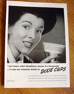 1947 Dixie Cup Ad   Cleanliness means to a Housewife