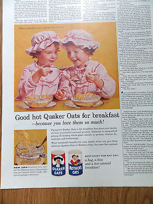 1960 Quaker Oats Cereal Ad Twin Girls  Mmm Peaches in our Oatmeal! This Morning!
