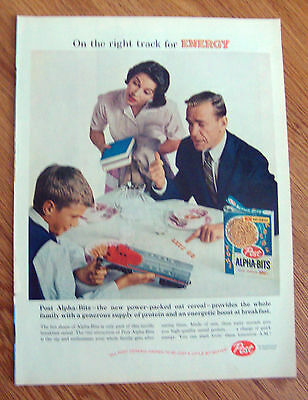 1959 Post Cereal Ad Alpha-Bits  Family Train Engine Toy
