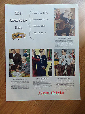 1947 Arrow Shirts Ad The American Man Courting business social family Life