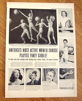 1949 Playtex Panty Girdle Ad Active Women Betz Kirk Dache Field O'Donnell