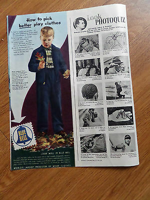 1950 Blue Bell Children Play Clothes Ad