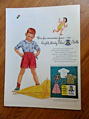 1954 Blue Bell Children Summer Play Clothes Ad  Flying Kites Theme