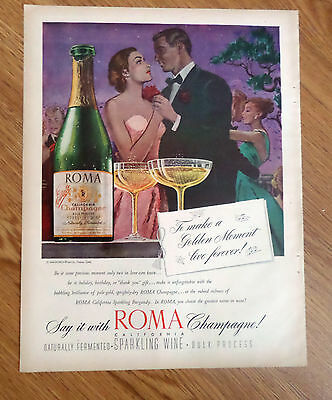 1947 Roma Champagne Ad To Make a Golden Moment Live Forever