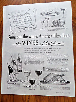1948 Wines of California Ad  Thanksgiving Day