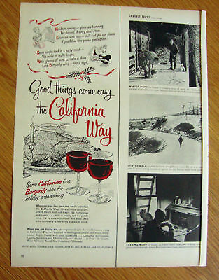 1951 The California Way with Burgundy Wine Ad Holidays