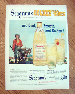 1949 Seagram's Gin Ad Golden '49er Rickey & Collins Gold Prospector