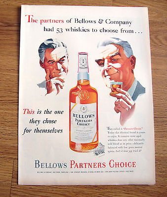 1953 Bellows Partners Choice Whiskey Ad