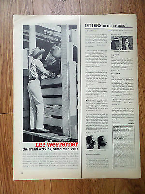 1961 Lee Westerner Jeans Ad The Brand Working Ranch Men Wear