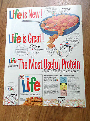 1961 Quaker Life Cereal Ad Life is New Life is Great Life Gives you Most Protein