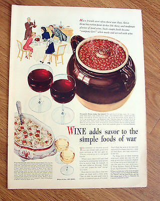 1944 Wine Goes with Food Ad  Burgundy Beans make Lips Smack