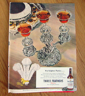 1947 Three Feathers Whiskey Ad 1947 Chesterfield Cigarettes Ad