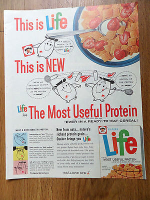 1961 Quaker Life Cereal Ad This is Life This is New Life The Most Protein