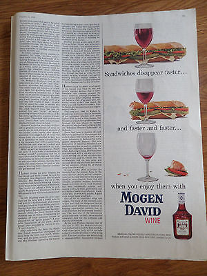 1959 Mogen David Wine Ad  Sandwiches Disappear Faster Faster Faster