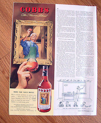 1947 Cobbs Whiskey Ad  The Master Blend