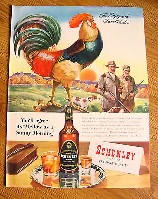 1945 Schenley Whiskey Ad Rooster  Hunting Theme