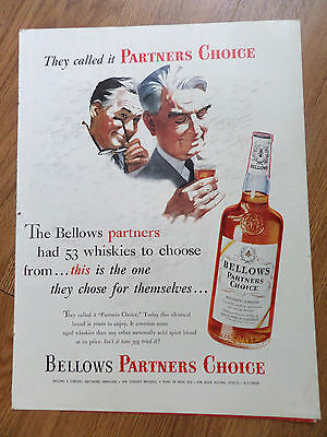 1954 Bellows Partners Choice Whiskey Ad