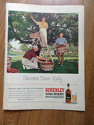 1943 Schenley Whiskey Ad  Apple Harvest Time 1943