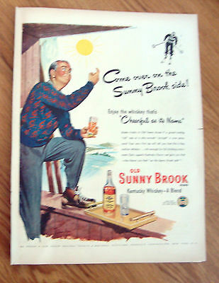 1948 Sunny Brook Whiskey Ad  Skiing Theme