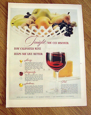 1955 California Wine Ad  Tonight You can Discover