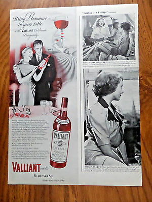 1946 Valliant & Son Vineyards Ad  Romance to your table