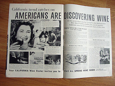 1953 Wines of California Ad California Trend Catches on Americans Discovering