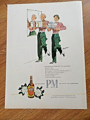 1946 PM Whiskey Ad      Waitors For Pleasant Moments Perfection's Mirror