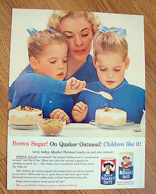 1963 Quaker Oats Cereal Ad Brown Sugar Children Like it