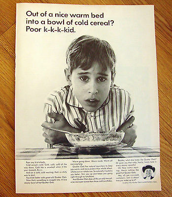 1964 Quaker Oats Cereal Ad Poor Kid