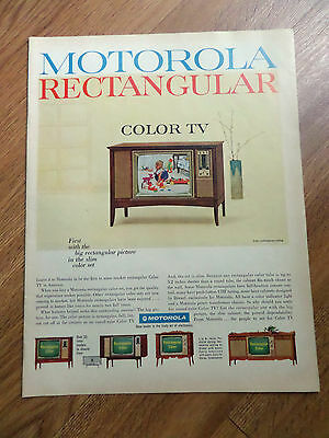 1965 Motorola TV Television Ad First with the Big  Rectangular Color TV