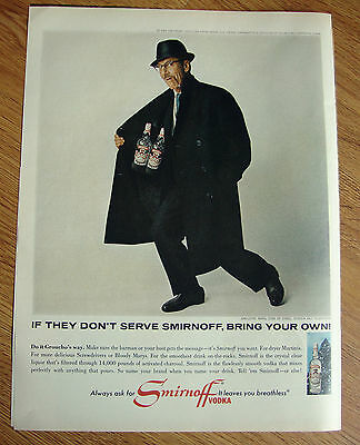1965 Smirnoff Vodka Ad  Groucho Marx Star of Stage Screen and Television