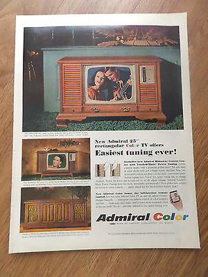 1966 Admiral Color TV Ad Easiest Tuning Ever Rectangular Color TV