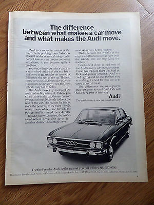 1970 Audi Ad The Difference between what makes a Car Move & What Makes Audi Move