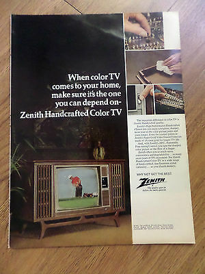 1969 Zenith TV Television Ad Handcrafted Color TV Space Command 600 Remote