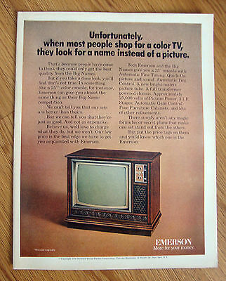 1970 Emerson TV Television Ad  Unfortunately Shop Color TV Look For Name