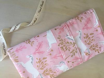 Baby Change Mat Clutch Handmade, cotton and terry toweling Magic in Pink Print