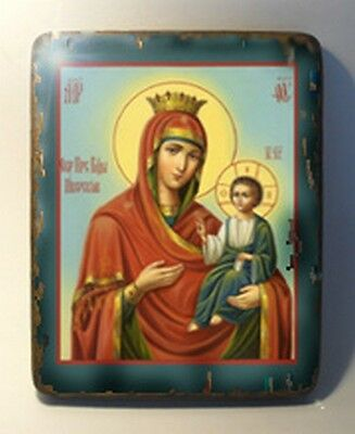 Handmade copy ancient ORTHODOX CHURCH ICON Mother of God of Iver 52S