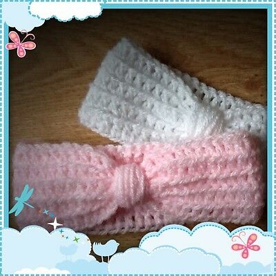 Handmade Crochet Turban Style Baby Headband, Pink or White