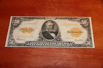 United States 1922 $50 Gold Certificate Fr.1200 VF