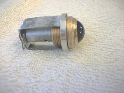 "Vintage Instrument Panel Light 5/8"" Smooth Green Glass Copper Lens"