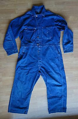 Vintage 40s Mens WWII Army Denim Coveralls Laurel Wreath Donut Buttons