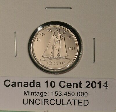 Canada 2014 UNC 10 CENT - BU Dime - Straight from Original Mint Roll - NICE