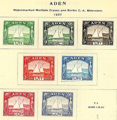 1937 Aden Stamps #1-7, All MINT, VF, H