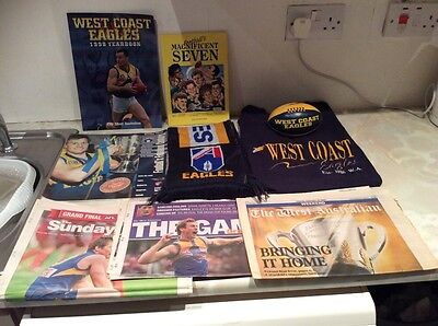 West Coast Eagles Bundle Books Newspapers Scarf Small Tshirt, Small Ball
