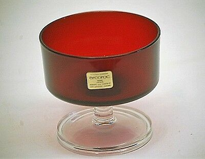 Vintage Arcoroc Cavalier Ruby by Cristal d'Arques Champagne Tall Sherbet Glass